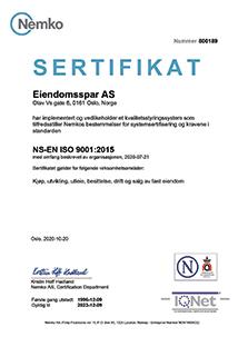 ISO-sertifikat 2020 Eiendomsspar
